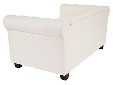 Luxus 2er Sofa Loungesofa Couch Chesterfield Kunstleder ~ eckige Füße, weiß - 2