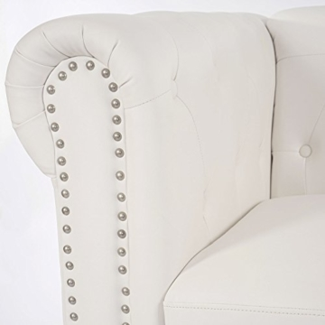 Luxus 2er Sofa Loungesofa Couch Chesterfield Kunstleder ~ eckige Füße, weiß - 3
