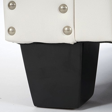 Luxus 2er Sofa Loungesofa Couch Chesterfield Kunstleder ~ eckige Füße, weiß - 5