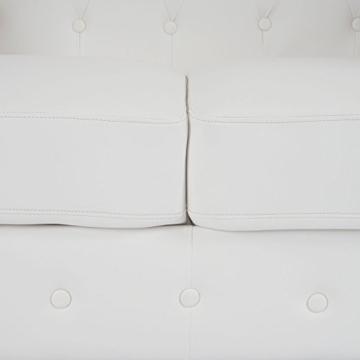 Luxus 2er Sofa Loungesofa Couch Chesterfield Kunstleder ~ eckige Füße, weiß - 6