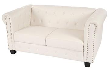 Luxus 2er Sofa Loungesofa Couch Chesterfield Kunstleder ~ eckige Füße, weiß - 7
