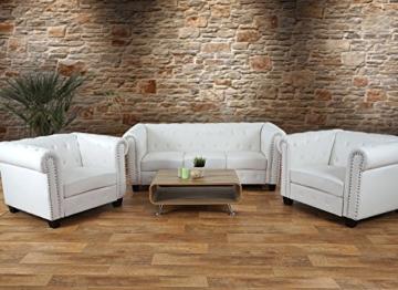 Luxus 2er Sofa Loungesofa Couch Chesterfield Kunstleder ~ eckige Füße, weiß - 8