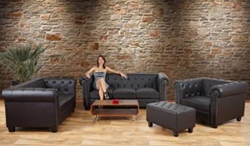 Luxus 2er Sofa Loungesofa Couch Chesterfield Kunstleder ~ eckige Füße, weiß - 9
