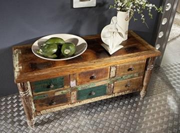 massiv Holz Möbel Vintage lackiert Sideboard Altholz massiv Möbel mehrfarbig Massivholz Rapunzel #01 - 3