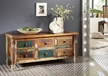 massiv Holz Möbel Vintage lackiert Sideboard Altholz massiv Möbel mehrfarbig Massivholz Rapunzel #01 - 1