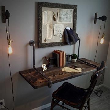 Massivholz Wandregal Wand Computer Schreibtisch Mit Metall Eisen  Wasserpfeife Regale Wandbehang Für Wohnzimmer Als Bücherregal Lagerregal  Wand Dekorationen ...