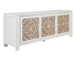 massivum Sideboard Valsad 203x80x50 cm Teak weiß lackiert - 1