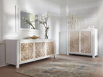 massivum Sideboard Valsad 203x80x50 cm Teak weiß lackiert - 10