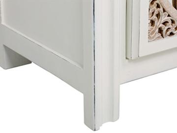 massivum Sideboard Valsad 203x80x50 cm Teak weiß lackiert - 3