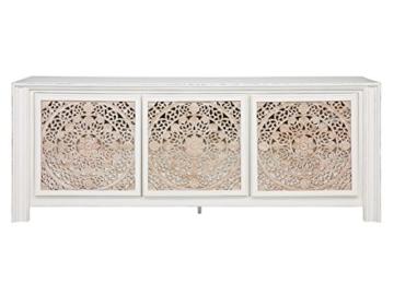 massivum Sideboard Valsad 203x80x50 cm Teak weiß lackiert - 9