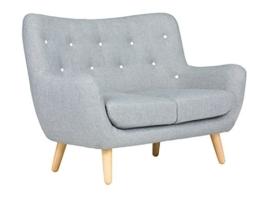 massivum Sofa Retro 130x95x80 cm Flachgewebe-Stoff grau - 1