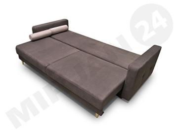 Modernes Schlafsofa Oliver, Couch mit Bettkasten und Schlaffunktion, Sehr bequemes Sofa, Bettsofa, Design Schlafcouch, synthetic Stoff, Wohnlandschaft (Eren 04 + Eren 05) - 2