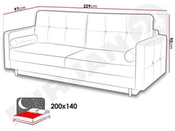 Modernes Schlafsofa Oliver, Couch mit Bettkasten und Schlaffunktion, Sehr bequemes Sofa, Bettsofa, Design Schlafcouch, synthetic Stoff, Wohnlandschaft (Eren 04 + Eren 05) - 5