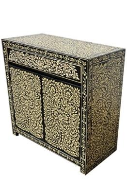 Orientalische Kommode Sideboard Abubakr 90cm Schwarz Weiß | Orient Vintage Kommodenschrank orientalisch handbemalt | Indische Landhaus Anrichte aus Holz massiv | Asiatische Möbel aus Indien - 1