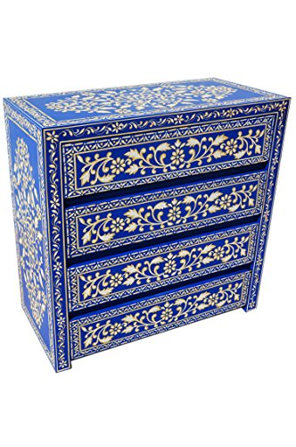 orientalische kommode sideboard adam 90cm blau wei. Black Bedroom Furniture Sets. Home Design Ideas