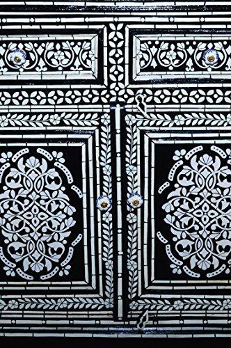 Orientalische Kommode Sideboard Dilhan 90cm Schwarz Weiß | Orient Vintage Kommodenschrank orientalisch handbemalt | Indische Landhaus Anrichte aus Holz massiv | Asiatische Möbel aus Indien - 2