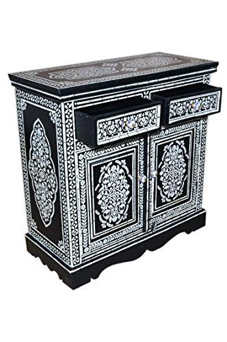 Orientalische Kommode Sideboard Dilhan 90cm Schwarz Weiß | Orient Vintage Kommodenschrank orientalisch handbemalt | Indische Landhaus Anrichte aus Holz massiv | Asiatische Möbel aus Indien - 3