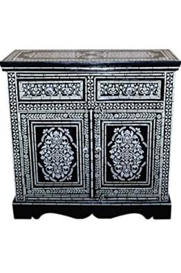 Orientalische Kommode Sideboard Dilhan 90cm Schwarz Weiß | Orient Vintage Kommodenschrank orientalisch handbemalt | Indische Landhaus Anrichte aus Holz massiv | Asiatische Möbel aus Indien - 1