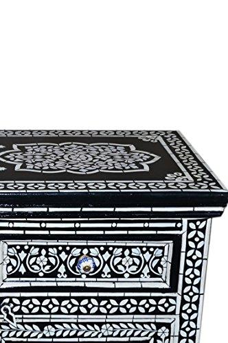 Orientalische Kommode Sideboard Dilhan 90cm Schwarz Weiß | Orient Vintage Kommodenschrank orientalisch handbemalt | Indische Landhaus Anrichte aus Holz massiv | Asiatische Möbel aus Indien - 5