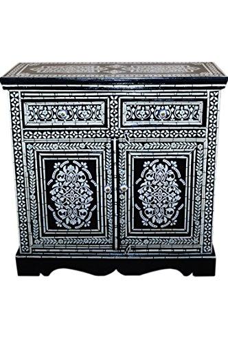 Orientalische Kommode Sideboard Dilhan 90cm Schwarz Weiss Orient