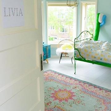 Pastell Vintage Teppich | im angesagten Shabby Chic Look | für Wohnzimmer, Schlafzimmer, Flur etc. | Pastell (225 x155 cm) - 3
