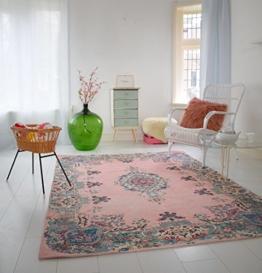 Pastell Vintage Teppich   im angesagten Shabby Chic Look   für Wohnzimmer, Schlafzimmer, Flur etc.   Pastell (225 x155 cm) - 1