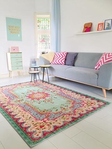 Pastell Vintage Teppich | im angesagten Shabby Chic Look | für Wohnzimmer, Schlafzimmer, Flur etc. | Pastell (225 x155 cm) - 1
