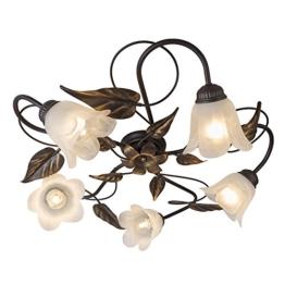 QAZQA Klassisch / Antik / Landhaus / Vintage / Rustikal / Deckenleuchte / Deckenlampe / Lampe / Leuchte Noale 5-flammig rost / Innenbeleuchtung / Wohnzimmer / Schlafzimmer / Küche Glas / Metall / Orga - 1