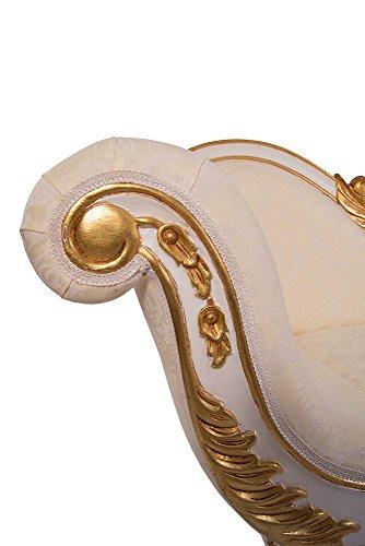 Recamiere Schwanendekor weiß gold Ottomane Chaiselounge links - 4