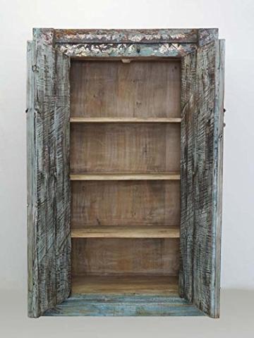 Schrank Kleiderschrank Vorratsschrank Vintage Sheesham Holz B: 142cm (6288) - 2