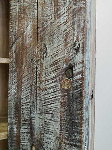 Schrank Kleiderschrank Vorratsschrank Vintage Sheesham Holz B: 142cm (6288) - 7