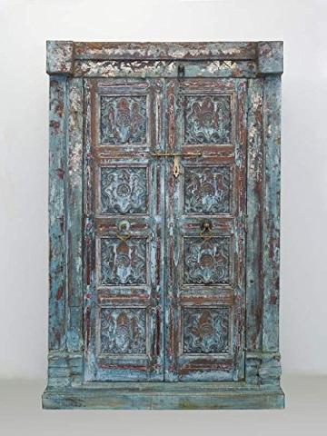 Schrank Kleiderschrank Vorratsschrank Vintage Sheesham Holz B: 142cm (6288) - 8