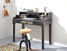 Sekretär Punjab 115x97x57 cm Akazie Metall Schreibtisch Tisch Used Look Vintage - 1