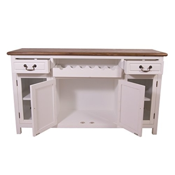 Sideboard mit Weinfach Varde Holz Vintage Look creme weiß - 3