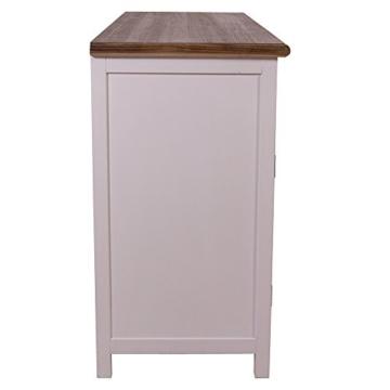 Sideboard mit Weinfach Varde Holz Vintage Look creme weiß - 4