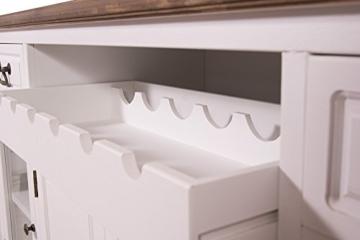 Sideboard mit Weinfach Varde Holz Vintage Look creme weiß - 6