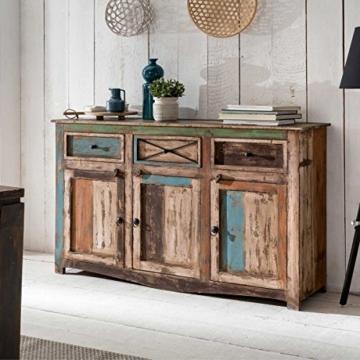 Sideboard Vintage Holz Bunt Massiv bemalt lackiert Kommode 150 cm Breit Mango Massivholz - 2