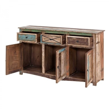 Sideboard Vintage Holz Bunt Massiv bemalt lackiert Kommode 150 cm Breit Mango Massivholz - 3