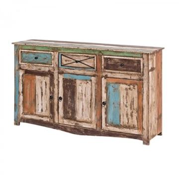 Sideboard Vintage Holz Bunt Massiv bemalt lackiert Kommode 150 cm Breit Mango Massivholz - 1