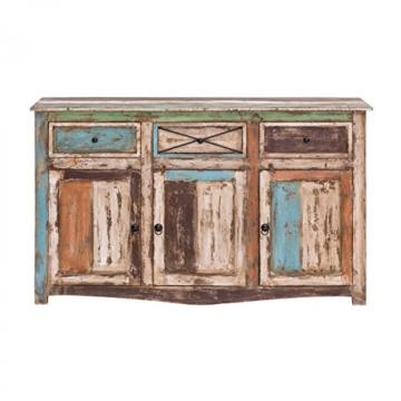 Sideboard Vintage Holz Bunt Massiv bemalt lackiert Kommode 150 cm Breit Mango Massivholz - 5