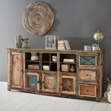 Sideboard Vintage Holz Bunt Massiv bemalt lackiert Kommode 193 cm Breit Mango Massivholz - 2