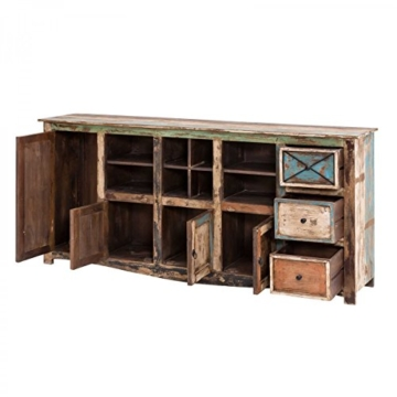 Sideboard Vintage Holz Bunt Massiv bemalt lackiert Kommode 193 cm Breit Mango Massivholz - 3