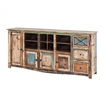 Sideboard Vintage Holz Bunt Massiv bemalt lackiert Kommode 193 cm Breit Mango Massivholz - 1