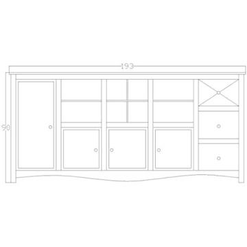 Sideboard Vintage Holz Bunt Massiv bemalt lackiert Kommode 193 cm Breit Mango Massivholz - 5
