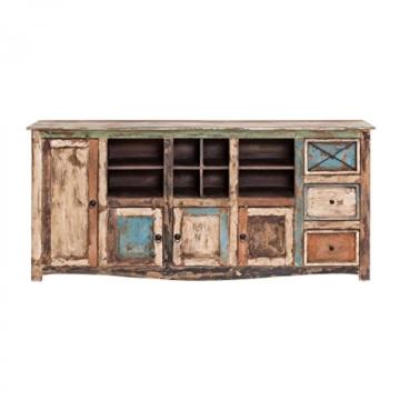 Sideboard Vintage Holz Bunt Massiv bemalt lackiert Kommode 193 cm Breit Mango Massivholz - 6