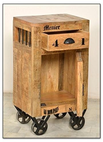 SIT-Möbel 1907-02 Kommode rustic mango-antikfinish mit gewollten Gebrauchsspuren, 44 x 34 x 82 cm, 1 Holztür, 1 Schublade - 2