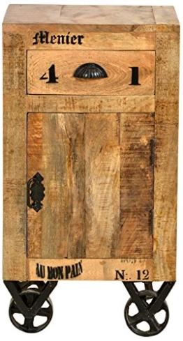 SIT-Möbel 1907-02 Kommode rustic mango-antikfinish mit gewollten Gebrauchsspuren, 44 x 34 x 82 cm, 1 Holztür, 1 Schublade - 1