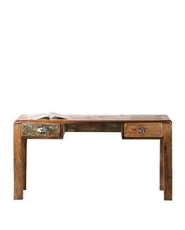 """SIT-Möbel 2607-98 Schreibtisch """"Fridge"""", 140 x 60 x 76 cm, Echtes Altholz, mit Kühlschrankgriffen auf Metallrollen, bunt lackiert - 1"""