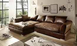 Sofa Couch Wohnlandschaft Wildlederoptik Anna L Form Rana Collection 290 x 83 x 182 cm Vintage Braun Links - 1