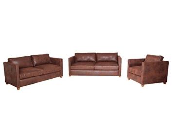 Sofa Couchgarnitur Sessel Couch Sofagarnitur Sitzgarnitur 3 2 1 Vintage brau - 1
